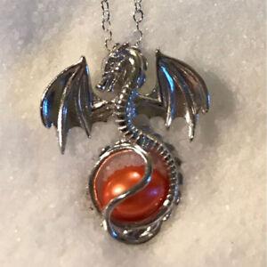 L-039-amour-de-Dragon-Perles-d-039-eau-Douce-Cage-Perle-Medaillon-Collier-Avec-Pendentif