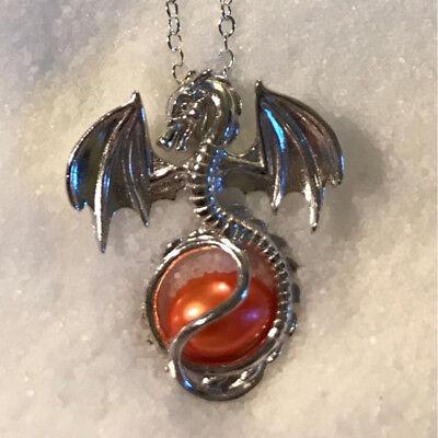 L/'amour de Dragon Perles d/'eau Douce Cage Perle Médaillon Collier Avec Pendentif