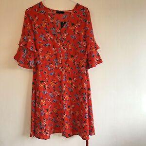 Vestido-Rojo-Floral-UK-12-volante-mangas-36-034-lazo-espalda-larga