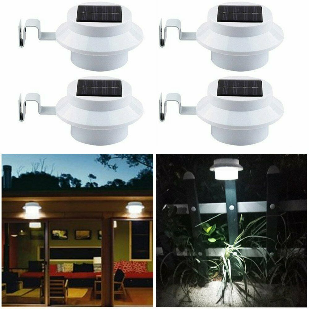 3 LED Solar Powered Gutter Light Outdoor//Garden//Yard//Wall//Fence//Pathway Lamp Hot