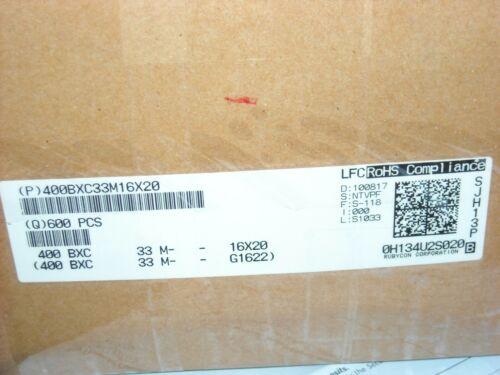 100 PCS RUBYCON 400BXC33M 16X20 Cap Alum RADIAL 33uF 400V 20/% 12000 hr 105°C