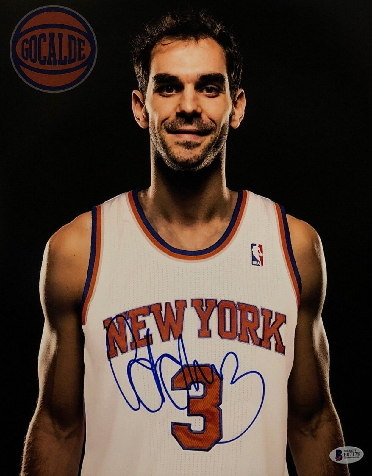 Jose Calderon Signed New York Knicks 11x14 Basketball Photo Beckett BAS E07178