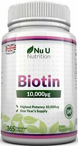 Biotin-10-000mcg-365-tablets-Maximum-strength-Healthy-Hair-Skin-Nails-Growth