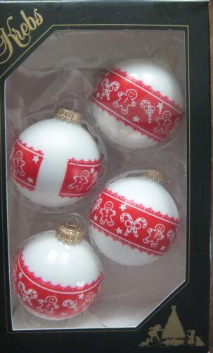 Christbaumkugeln weiße Kugel Rotes Band Krebs Glas Lauscha