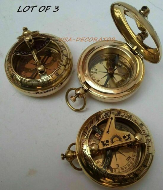 Nautical Brass Pocket Compass Antique Push Button w// Lid Silver Sundial