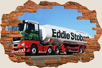 3D Hole in Wall Eddie Stobart View Wall Stickers Mural Film Art Wallpaper 302