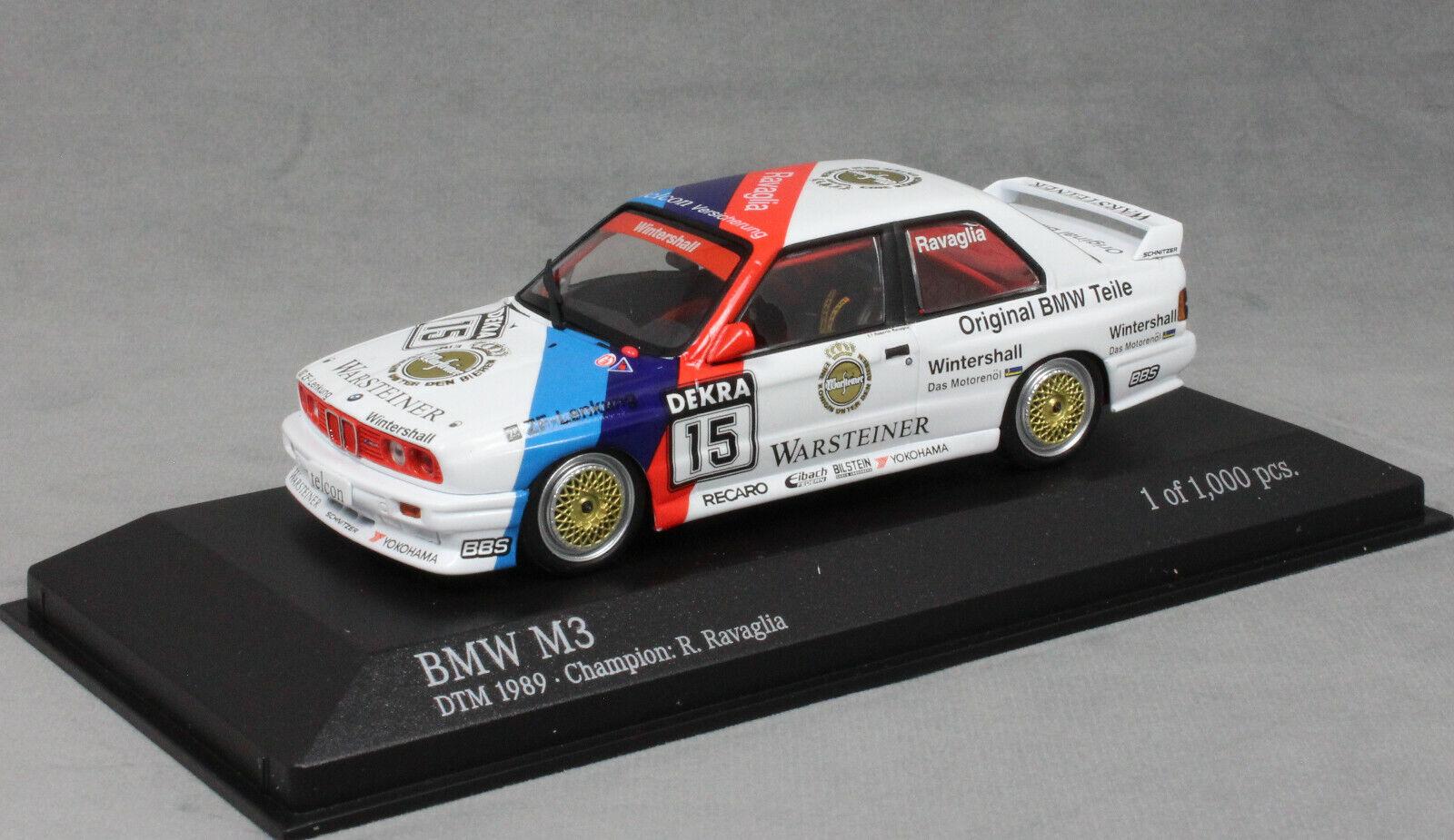 Minichamps BMW M3 E30 DTM Champion 1989 Roberto Ravaglia 433892015 1 43 NEW