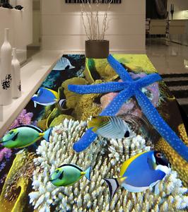 3D Coral Estrella De Mar 744 Piso impresión de parojo de papel pintado mural 5D AJ Wallpaper Reino Unido Limón