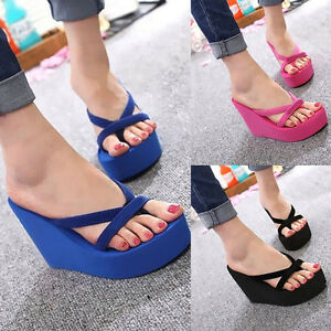 a4630f1ac7e48 Womens Wedge Platform Flip Flops Thong High Heel Slippers Summer ...