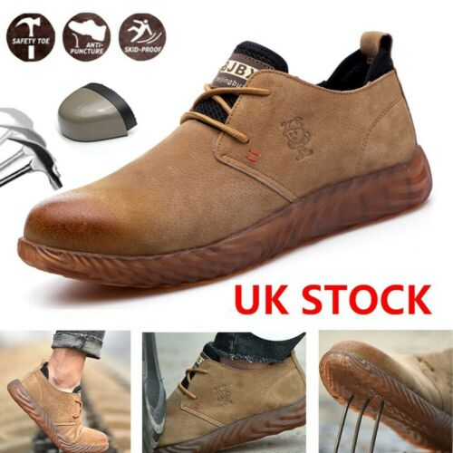 Mens Leather Ultra Lightweight Steel Toe Cap Safety Work Boots Trainers Shoes UK