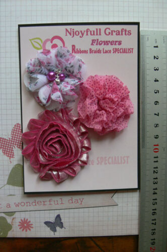 FUCHSIA PINK BURGUNDY BLACK 3-7cm Njoyfull Crafts 7 Mixed Flower Pk Choice W3