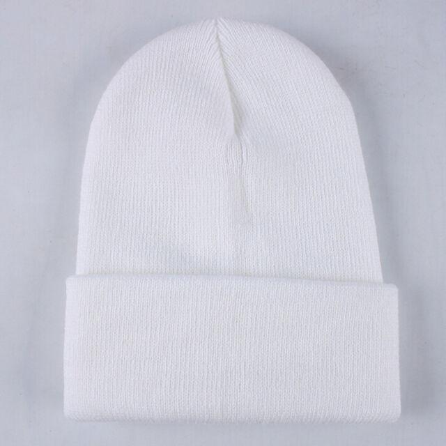 813d5b14239 Hot Women Men Winter Knit Plain Beanie Cap Ski Hat Solid Casual Hip ...