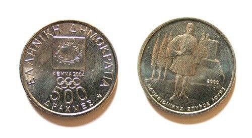 GREECE GREEK Set of 6 X500 Drachma OLYMPIC Coins UNC