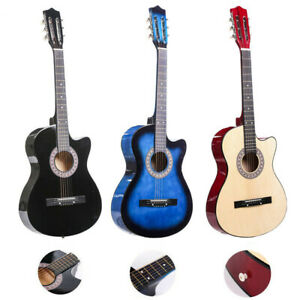 Guitar-Acoustic-Guitar-with-Guitar-Case-Strap-Tuner-amp-Pick-Steel-Strings-38-039-039