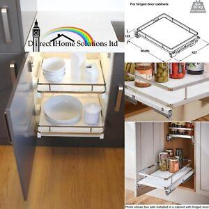 Details About Hafele Soft Close Kitchen Pull Out Storage Basket Solid White Base Cabinet Set