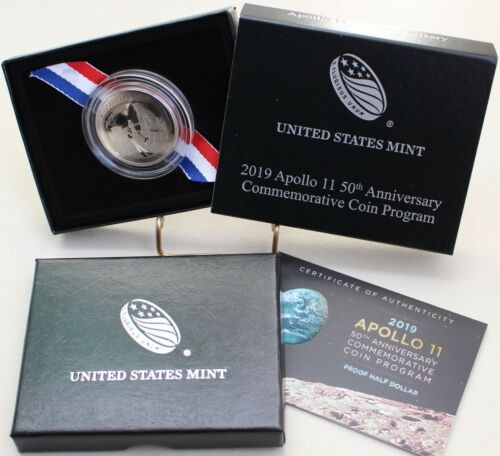 2019 Apollo 11 Clad Proof US Half Dollar Commemorative CURVED Coin Box and COA
