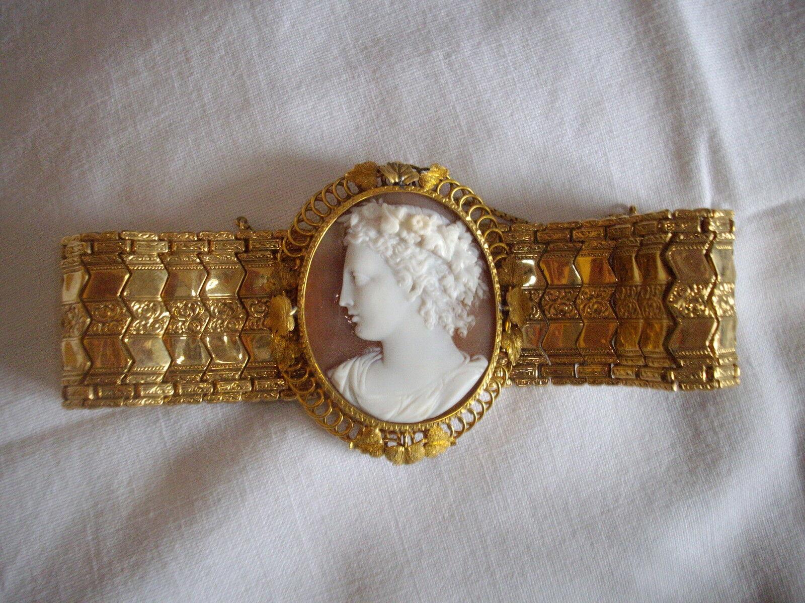 ECCEZIONALE BRACCIALE IN oro oro oro FRANCESE CON FANTASTICO CENTRALE IN SARDONICO -1870 d8a833