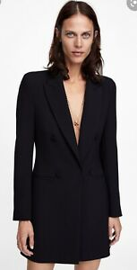 SOLD-OUT-Zara-Black-Tailored-Frock-Long-Blazer-Coat-Dress-Size-Small