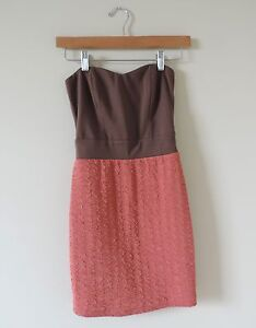 Women-039-s-Solemio-Brown-amp-Pink-Strapless-Dress-Size-Small