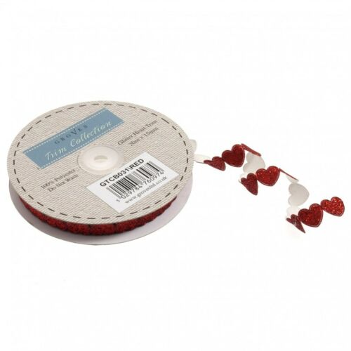 GTCB031-M per 3 metres Glitter Heart Trimming LL