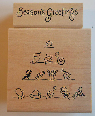 Christmas Set Ltd Edition Seasons Greetings & Tree Rubber Stamps - Wood Mounted
