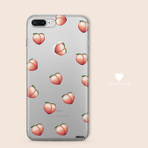 online store eca52 6760a Details about Clear TPU Plastic Case Cover for Apple iPhone Devices - PEACH  EMOJI