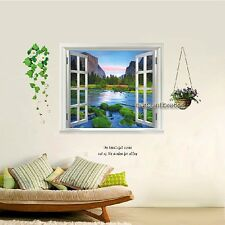 Huge 3D Window Mountain Water View Wall Stickers Film Mural Art Decal Wallpaper