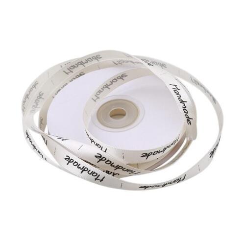 22m hecho a mano de impresión de Cinta de Raso Regalo Para Hornear etiquetas de costura de embalaje Hágalo usted mismo Craft FG