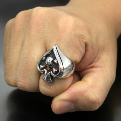 Men/'s vintage en acier inoxydable Skull Ring Spade Ace Mort Poker Lucky Band