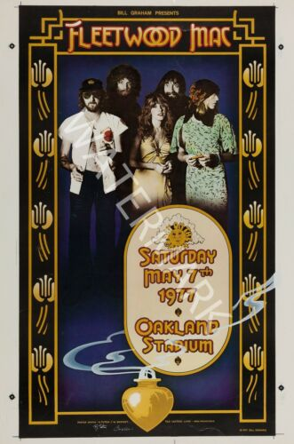 1977 Vintage Concert Poster Oakland Stadium Fleetwood Mac