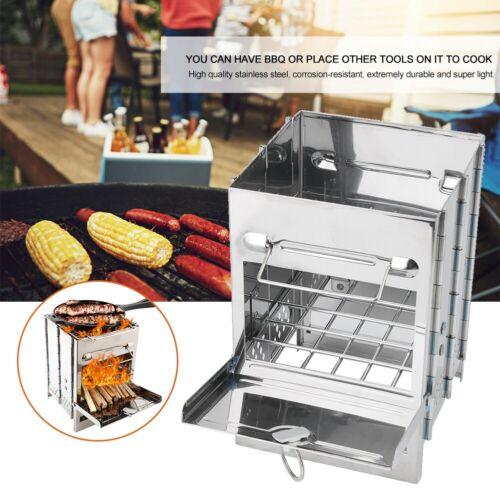 Tragbar Campingkocher Faltbarer Holzofen Edelstahl Tasche Herd Ofen für BBQ
