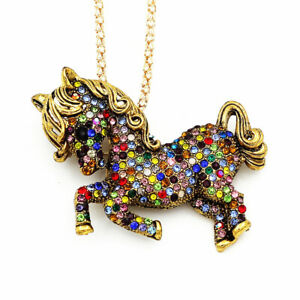 Colorful-Rhinestone-Pony-Horse-Pendant-Chain-Betsey-Johnson-Necklace-Brooch-Pin