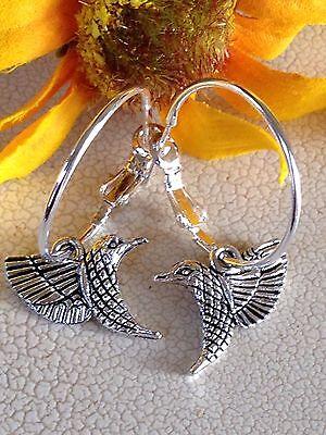 Silver Lever Back Hoops Dangle Humming Bird Earrings. Love. Nature.