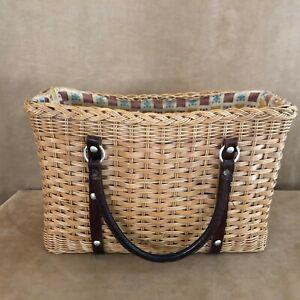 fb57a7920c11 Image is loading Vintage-basket-woven-purse-brown-handbag-1970s-boho-