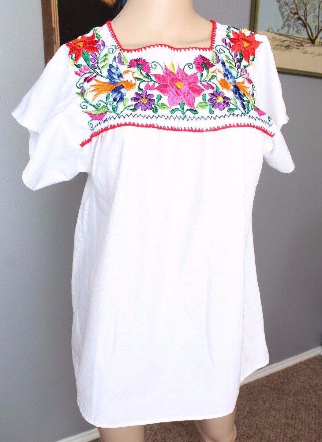 VTG Mexican Oaxacan Embroiderot Floral Bird Rainbow Boho Festival Blouse S M