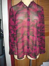 Lane Bryant Burgundy & Black Camouflage Sheer Button Down Blouse ~ Shirt  14/16