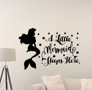 Details about A Little Mermaid Sleeps Here Wall Decal Girl Nursery Bedroom  Vinyl Sticker 927