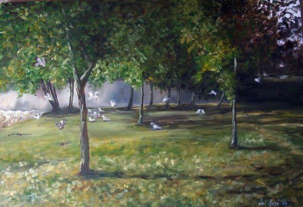 Cuadro Al óleo De Palomas Al Atardecer En Un Parque, Estilo Impresionista