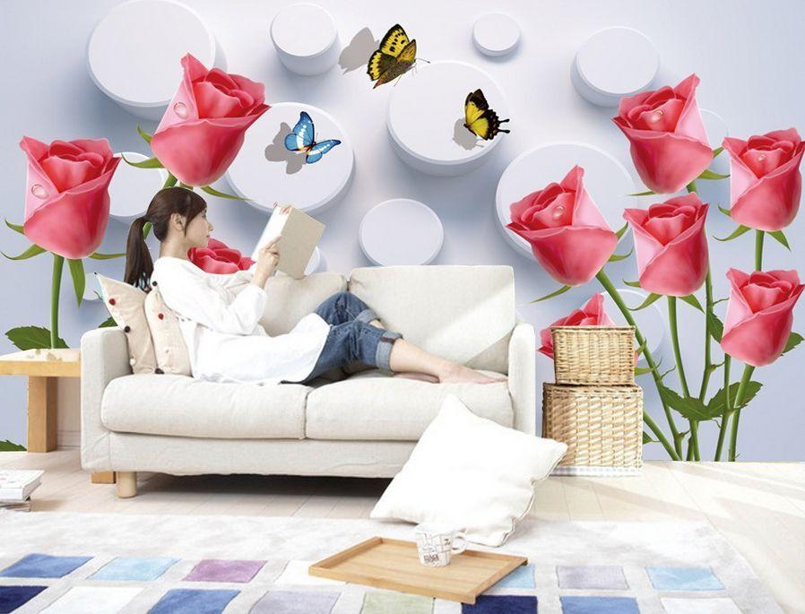 3D Rosen schmetterling 8843 Fototapeten Wandbild Fototapete BildTapete Familie