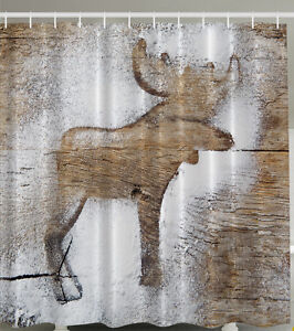 MOOSE FROSTED WOOD PLANKS CHRISTMAS WINTER SNOW DUSTING