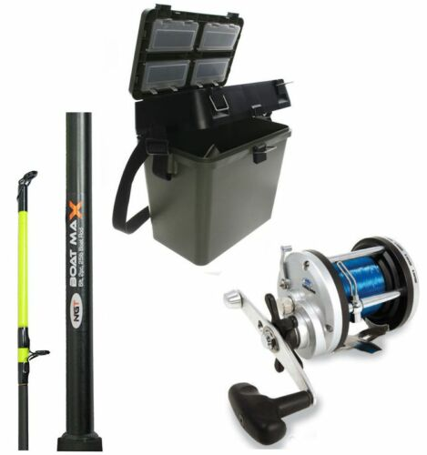 1 x SEA FISHING BOAT ROD + 1 x JD300 MULTIPLIER REEL + GREEN TACKLE SEAT BOX