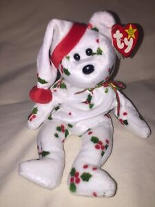 1998 Holiday Teddy Ty Beanie Baby PE Pellets mit Tag-Fehler