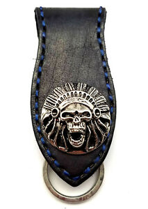 Biker-Skull-Indian-Trucker-Blue-Stitch-Leather-Belt-Clip-Keychain-Key-Holder