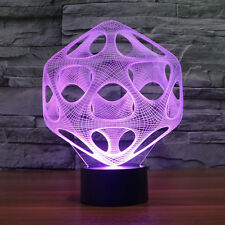 Abstract 3D LED Illusion Bulbing Night 7 Color Change Touch Switch Lamp Light