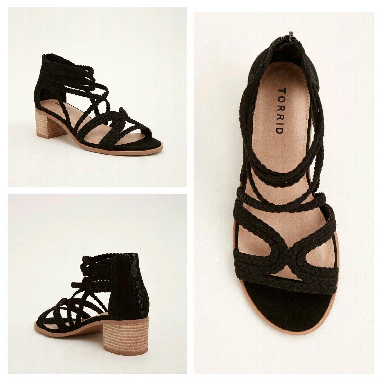 100% nuovo di zecca con qualità originale NIB Torrid 10W nero Braided Strappy Block Heels (Wide (Wide (Wide Width)  172  gli ultimi modelli