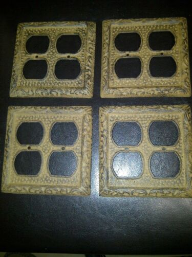 Rustic Antique Brown Cast Iron Outlet Plate Cover Double Plugs 4 Holes Set Of 4