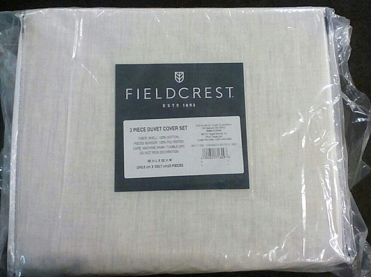 Fieldcrest 3 Pcs Duvet Set 96in x 92in 100% cotton shell Ivory w grey streaks