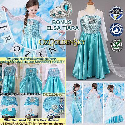 New Frozen Girls Elsa Queen Princess Birthday Costume Party Dress Size 3-10Y