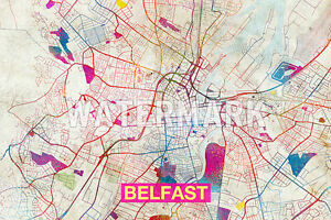 MAP OF BELFAST, NORTHERN IRELAND - ART PRINT GRAPHIC POSTER OLD ...