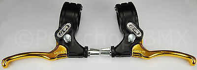 Dia-Compe old school BMX Tech 77 LOCKING Brake Lever Set - BLACK / GOLD